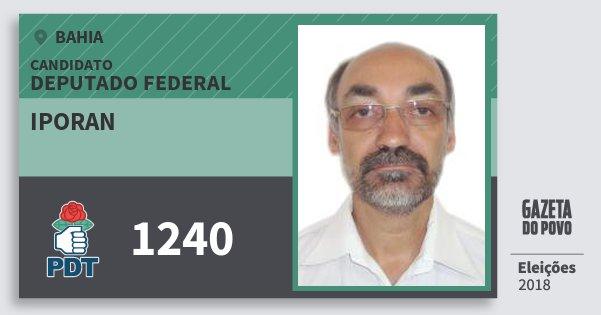 Santinho Iporan 1240 (PDT) Deputado Federal | Bahia | Eleições 2018