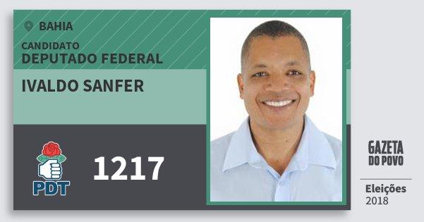 Santinho Ivaldo Sanfer 1217 (PDT) Deputado Federal | Bahia | Eleições 2018