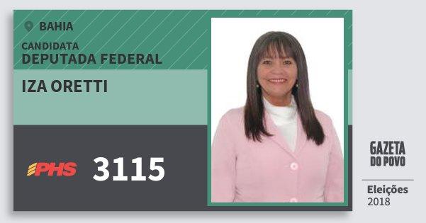 Santinho Iza Oretti 3115 (PHS) Deputada Federal | Bahia | Eleições 2018
