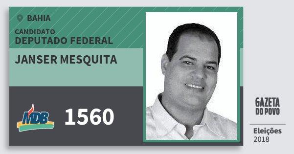 Santinho Janser Mesquita 1560 (MDB) Deputado Federal | Bahia | Eleições 2018