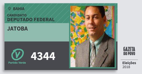 Santinho Jatoba 4344 (PV) Deputado Federal | Bahia | Eleições 2018