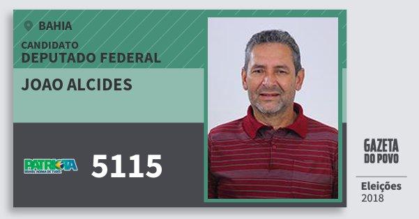 Santinho Joao Alcides 5115 (PATRI) Deputado Federal | Bahia | Eleições 2018