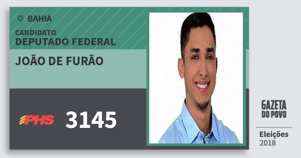 Santinho João de Furão 3145 (PHS) Deputado Federal | Bahia | Eleições 2018