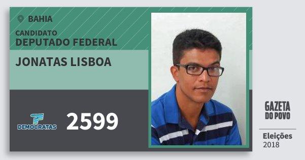 Santinho Jonatas Lisboa 2599 (DEM) Deputado Federal | Bahia | Eleições 2018