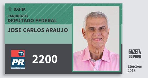 Santinho Jose Carlos Araujo 2200 (PR) Deputado Federal | Bahia | Eleições 2018