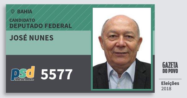 Santinho José Nunes 5577 (PSD) Deputado Federal | Bahia | Eleições 2018