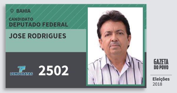 Santinho Jose Rodrigues 2502 (DEM) Deputado Federal | Bahia | Eleições 2018