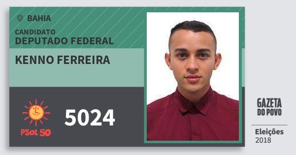 Santinho Kenno Ferreira 5024 (PSOL) Deputado Federal | Bahia | Eleições 2018