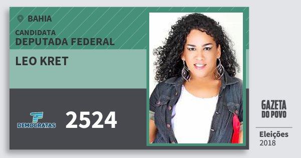 Santinho Leo Kret 2524 (DEM) Deputada Federal | Bahia | Eleições 2018