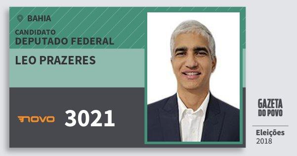 Santinho Leo Prazeres 3021 (NOVO) Deputado Federal | Bahia | Eleições 2018