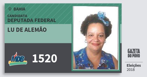 Santinho Lu de Alemão 1520 (MDB) Deputada Federal | Bahia | Eleições 2018