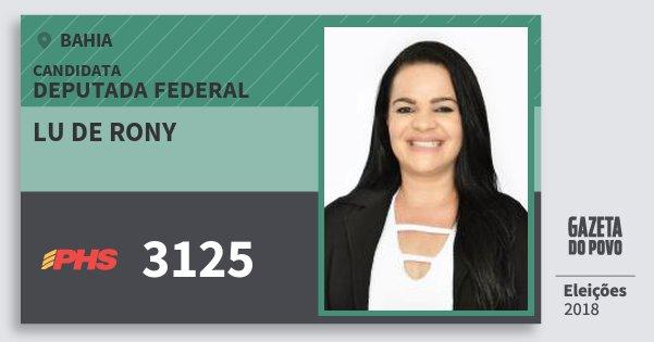Santinho Lu de Rony 3125 (PHS) Deputada Federal   Bahia   Eleições 2018