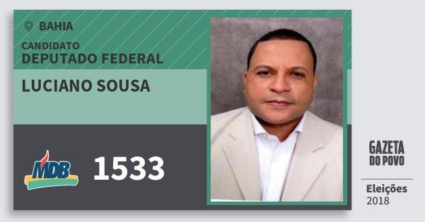 Santinho Luciano Sousa 1533 (MDB) Deputado Federal | Bahia | Eleições 2018