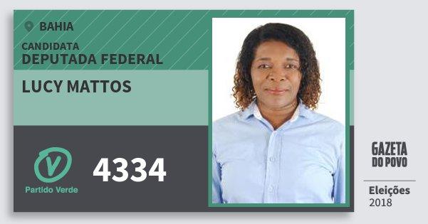 Santinho Lucy Mattos 4334 (PV) Deputada Federal | Bahia | Eleições 2018
