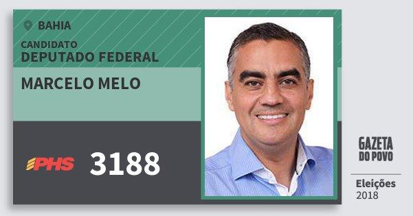 Santinho Marcelo Melo 3188 (PHS) Deputado Federal | Bahia | Eleições 2018