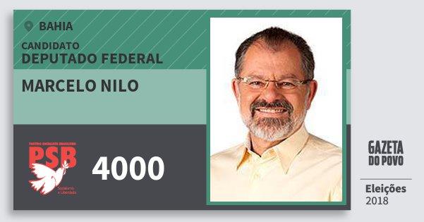 Santinho Marcelo Nilo 4000 (PSB) Deputado Federal | Bahia | Eleições 2018