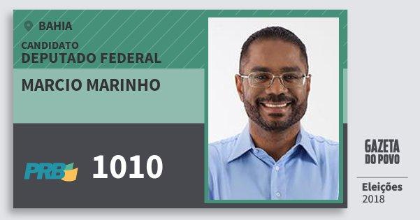 Santinho Marcio Marinho 1010 (PRB) Deputado Federal | Bahia | Eleições 2018