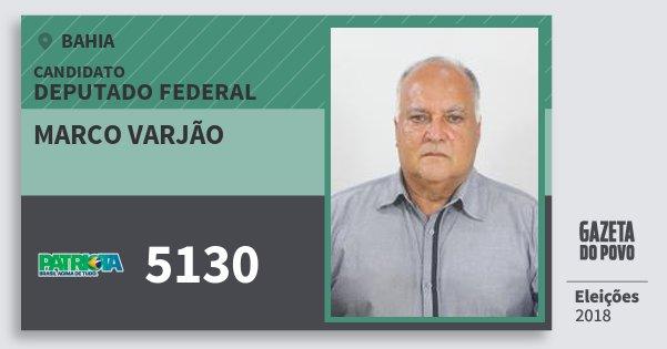 Santinho Marco Varjão 5130 (PATRI) Deputado Federal | Bahia | Eleições 2018