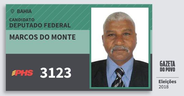 Santinho Marcos do Monte 3123 (PHS) Deputado Federal | Bahia | Eleições 2018