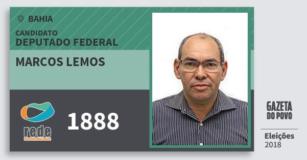 Santinho Marcos Lemos 1888 (REDE) Deputado Federal | Bahia | Eleições 2018