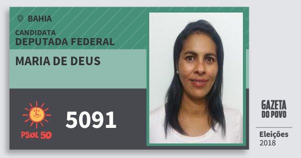Santinho Maria de Deus 5091 (PSOL) Deputada Federal | Bahia | Eleições 2018