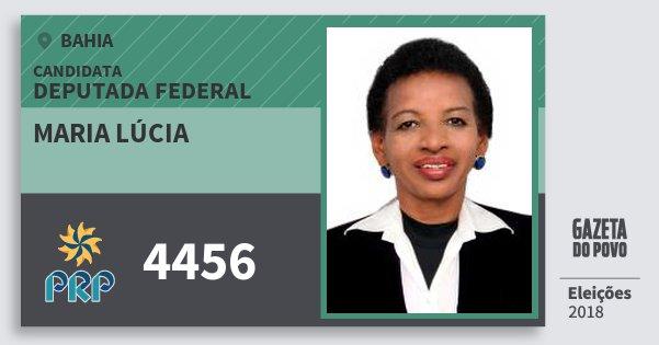 Santinho Maria Lúcia 4456 (PRP) Deputada Federal | Bahia | Eleições 2018
