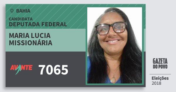 Santinho Maria Lucia Missionária 7065 (AVANTE) Deputada Federal | Bahia | Eleições 2018