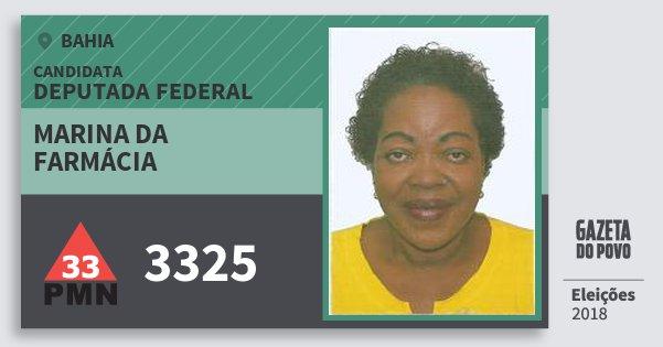 Santinho Marina da Farmácia 3325 (PMN) Deputada Federal | Bahia | Eleições 2018