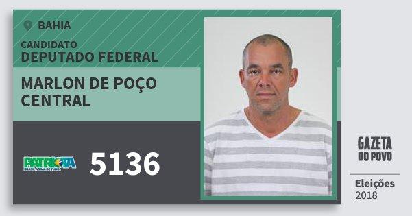 Santinho Marlon de Poço Central 5136 (PATRI) Deputado Federal | Bahia | Eleições 2018