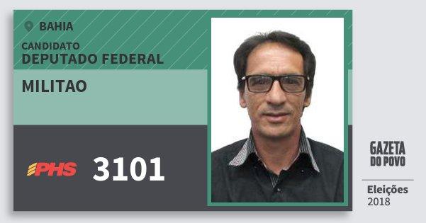 Santinho Militao 3101 (PHS) Deputado Federal | Bahia | Eleições 2018