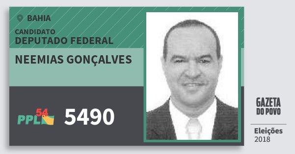 Santinho Neemias Gonçalves 5490 (PPL) Deputado Federal | Bahia | Eleições 2018