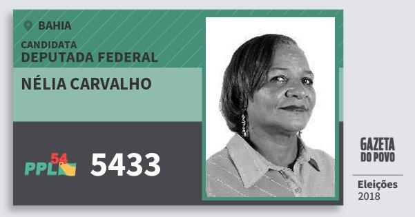 Santinho Nélia Carvalho 5433 (PPL) Deputada Federal | Bahia | Eleições 2018