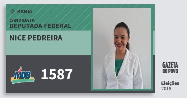Santinho Nice Pedreira 1587 (MDB) Deputada Federal   Bahia   Eleições 2018