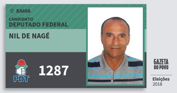 Santinho Nil de Nagé 1287 (PDT) Deputado Federal | Bahia | Eleições 2018