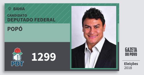 Santinho Popó 1299 (PDT) Deputado Federal | Bahia | Eleições 2018