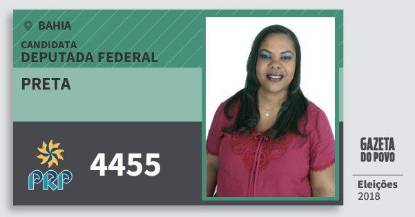 Santinho Preta 4455 (PRP) Deputada Federal | Bahia | Eleições 2018
