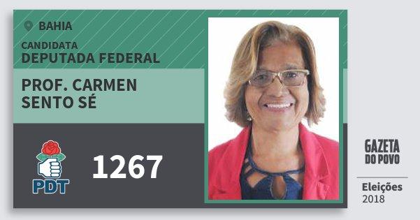 Santinho Prof. Carmen Sento Sé 1267 (PDT) Deputada Federal | Bahia | Eleições 2018