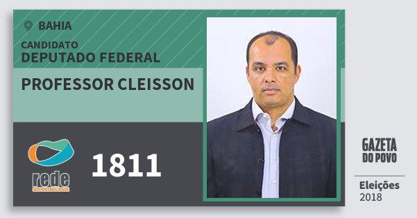 Santinho Professor Cleisson 1811 (REDE) Deputado Federal | Bahia | Eleições 2018