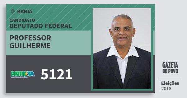 Santinho Professor Guilherme 5121 (PATRI) Deputado Federal | Bahia | Eleições 2018