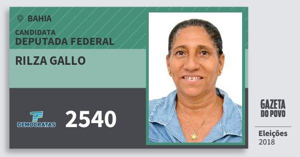 Santinho Rilza Gallo 2540 (DEM) Deputada Federal | Bahia | Eleições 2018