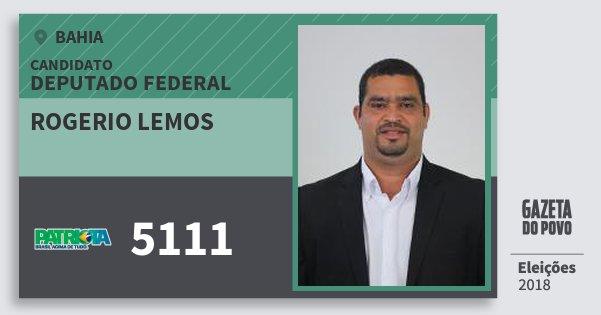 Santinho Rogerio Lemos 5111 (PATRI) Deputado Federal | Bahia | Eleições 2018
