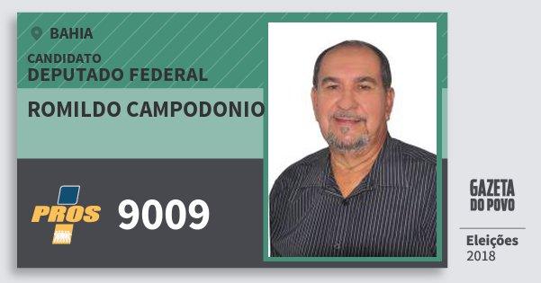 Santinho Romildo Campodonio 9009 (PROS) Deputado Federal | Bahia | Eleições 2018