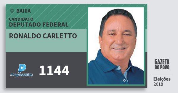 Santinho Ronaldo Carletto 1144 (PP) Deputado Federal | Bahia | Eleições 2018