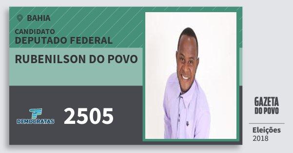 Santinho Rubenilson do Povo 2505 (DEM) Deputado Federal | Bahia | Eleições 2018