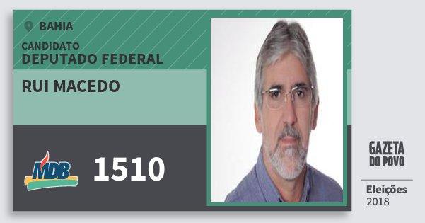 Santinho Rui Macedo 1510 (MDB) Deputado Federal | Bahia | Eleições 2018