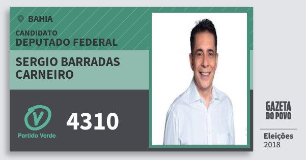 Santinho Sergio Barradas Carneiro 4310 (PV) Deputado Federal | Bahia | Eleições 2018