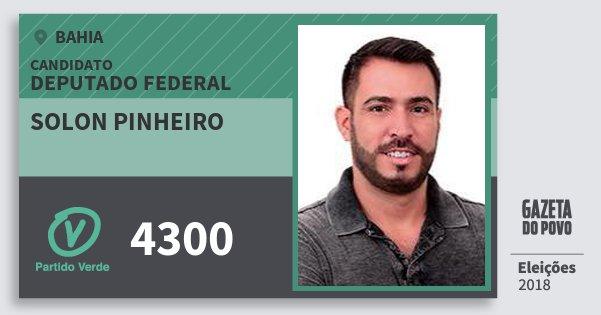 Santinho Solon Pinheiro 4300 (PV) Deputado Federal | Bahia | Eleições 2018