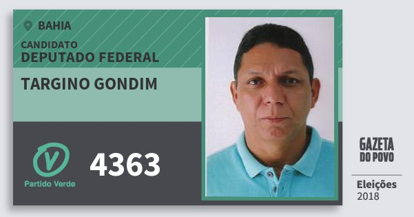 Santinho Targino Gondim 4363 (PV) Deputado Federal | Bahia | Eleições 2018