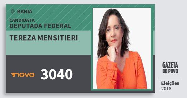 Santinho Tereza Mensitieri 3040 (NOVO) Deputada Federal | Bahia | Eleições 2018