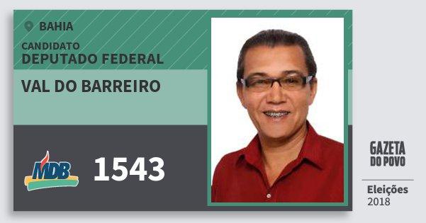 Santinho Val do Barreiro 1543 (MDB) Deputado Federal | Bahia | Eleições 2018